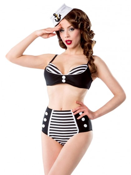 """Maillot de bain 2 pièces Bikini Sailor Rockabilly Pin-Up Belsira """"Oceane Black"""" - rockangehell.com"""
