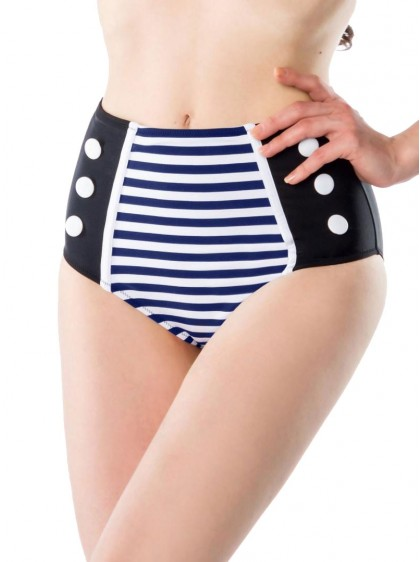 "Bas Maillot de bain Bikini Sailor Retro Rockabilly Pin-Up Belsira ""Oceane Blue Navy"" - rockangehell.com"