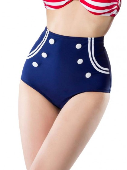 "Bas Maillot de bain Bikini Rockabilly Sailor Retro Pin-Up Belsira ""Marina Navy"" - rockangehell.com"