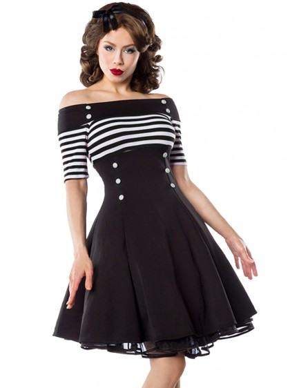 "Robe Rockabilly Retro Vintage Belsira ""Black White Stripes"" - rockangehell.com"