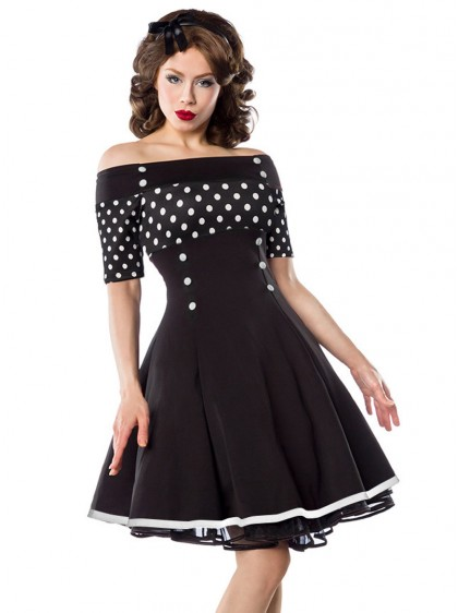 "Robe Pin-Up Rockabilly Retro Belsira ""Black White Dots"" - rockangehell.com"