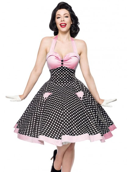 "Robe Rockabilly Pin-Up Retro Années 50 Belsira ""Pink White Dots"" - rockangehell.com"