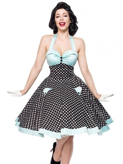"Robe Années 50 Pin-Up Retro Rockabilly Belsira ""Blue White Dots"" - rockangehell.com"
