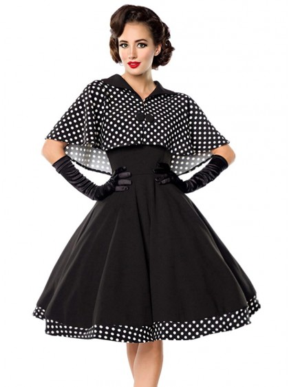 "Robe + Cape Retro Rockabilly Pin-Up Années 50 Belsira ""Black White Dots"" - rockangehell.com"