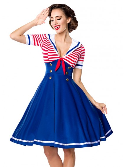 "Robe Sailor Marin Pin-Up Rockabilly Belsira ""Navy"" - rockangehell.com"