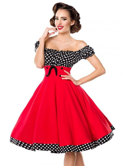 "Robe Années 50 Pin-Up Rockabilly Retro Belsira ""Bella Red"" - rockangehell.com"