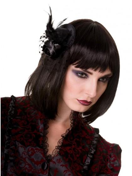 "Barrette Cheveux Chapeau Rockabilly Gothique Banned ""Small Black Hat"" - rockangehell.com"
