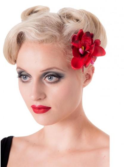 "Barrette Cheveux Fleur Rockabilly Pin-Up Banned ""Blossom Red"" - rockangehell.com"