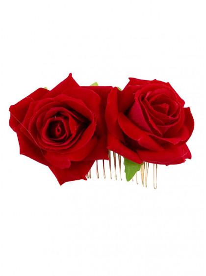 "Barrette Cheveux Fleur Rouge Pin-Up Rockabilly Retro Banned ""Be My Valentine"" - rockangehell.com"