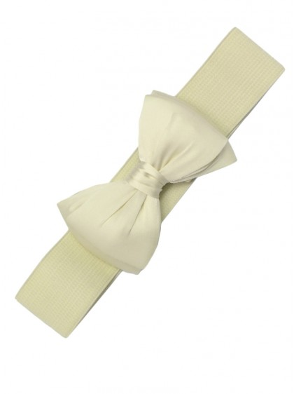 "Ceinture Ivoire Pin-Up Vintage Rockabilly Retro Banned ""Cream Bow"" - rockangehell.com"