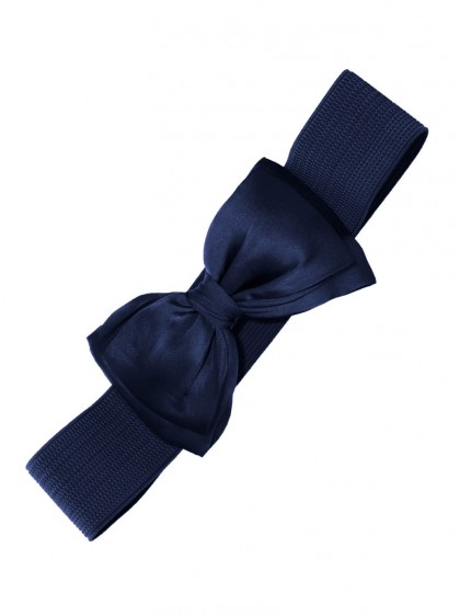 "Ceinture Bleu nuit Rockabilly Pin-Up Années 50 Retro Banned ""Dark Blue Bow"" - rockangehell.com"