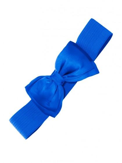 "Ceinture Bleu Vintage Pin-Up Années 50 Retro Banned ""Blue Bow"" - rockangehell.com"