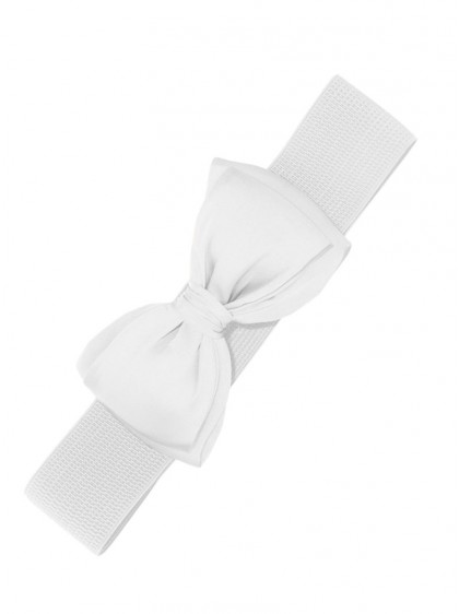 "Ceinture Blanche Rero Pin-Up Années 50 Vintage Banned ""White Bow"" - rockangehell.com"