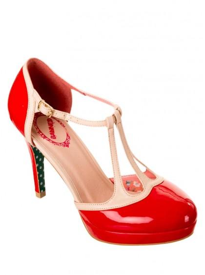 "Chaussures Escarpins Années 50 Pin-Up Rockabilly Banned ""Betty Red"" - rockangehell.com"