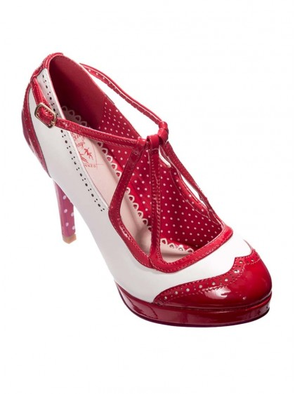 "Chaussures Escarpins Pin-Up Rockabilly Années 50 Banned ""Just One Look Red"" - rockangehell.com"