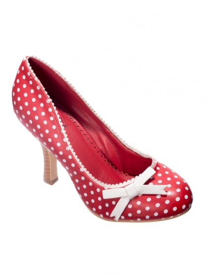 """Chaussures Escarpins Pin-Up Années 50 Rockabilly Banned """"String of Pearl Red White"""" - rockangehell.com"""