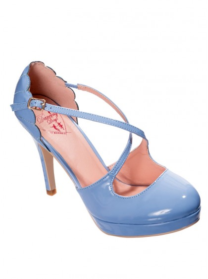 "Chaussures Escarpins Rockabilly Années 50 Pin-Up Banned ""Riverside Blue"" - rockangehell.com"