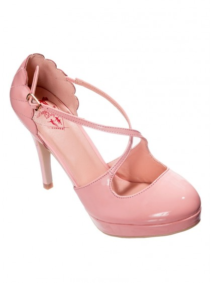 "Chaussures Escarpins Années 50 Rockabilly Pin-Up Banned ""Riverside Pink"" - rockangehell.com"