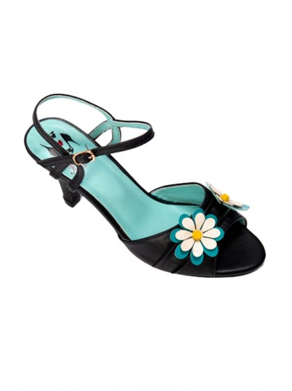 "Chaussures Sandales Années 50 Rockabilly Pin-Up Banned ""Dazes Blossom"" - rockangehell.com"