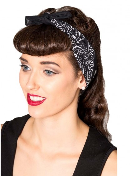 "Bandana Foulard Pin-Up Rockabilly Années 50 Banned ""Lysia Black"""