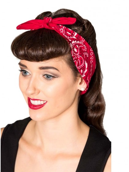 "Bandana Foulard Rockabilly Pin-Up Retro Banned ""Lysia Red"" - rockangehell.com"