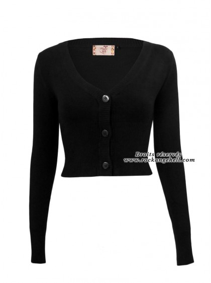 "Gilet Bolero Noir Pin-Up Rockabilly Retro Banned ""Lets Go Dancing Black"" - rockangehell.com"