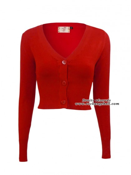 "Gilet Bolero Rouge Pin-Up Rockabilly Vintage Banned ""Lets Go Dancing Red"" - rockangehell.com"