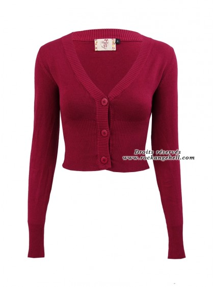 "Gilet Bolero Framboise Rockabilly Pin-Up Retro Banned ""Lets Go Dancing Raspberry"" - rockangehell.com"