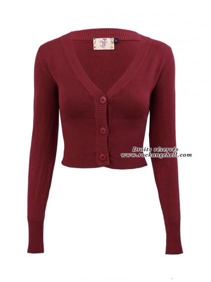 "Gilet Bolero Bordeaux Rockabilly Pin-Up Retro Banned ""Lets Go Dancing Burgundy"" - rockangehell.com"