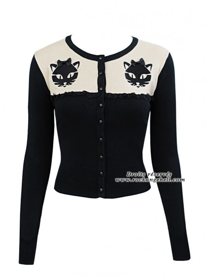 "Gilet Cardigan Retro Rockabilly Banned ""Eternity Cat"" - rockangehell.com"
