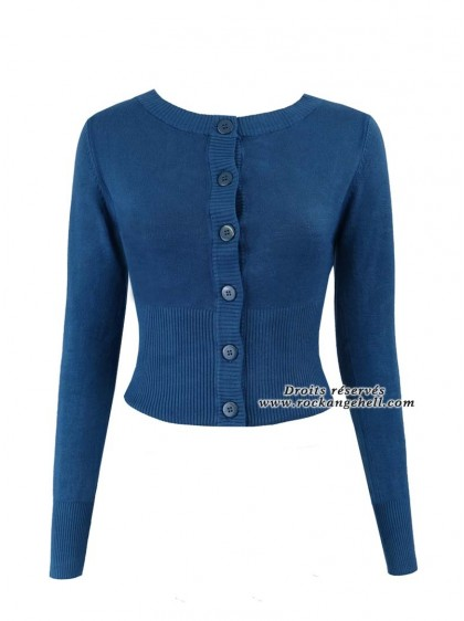 "Gilet Cardigan Bleu Pin-Up Rockabilly Années 50 Banned ""Dolly Blue"" - rockangehell.com"