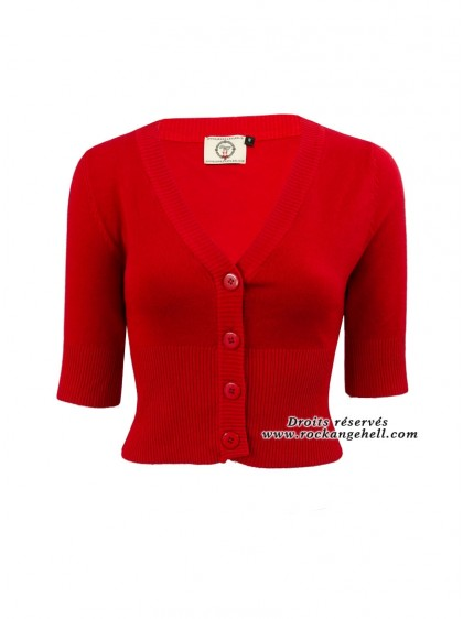 "Gilet Bolero Rouge Rockabilly Pin-Up Retro Banned ""Overload Red"" - rockangehell.com"