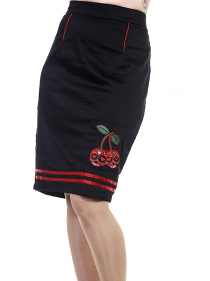 "Jupe rockabilly pin-up rétro Banned ""Cherry"""