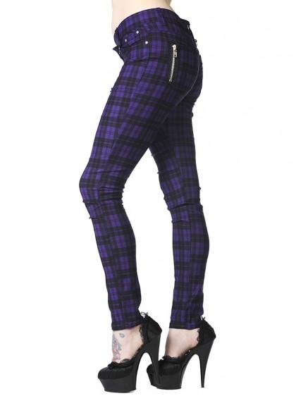 "Pantalon slim écossais violet Punk Rock Banned ""Purple Tartan"" - rockangehell.com"