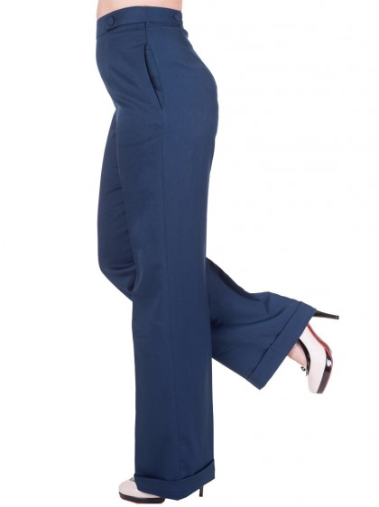 "Pantalon Retro Vintage Rockabilly Banned ""Party On Navy Blue"" - rockangehell.com"