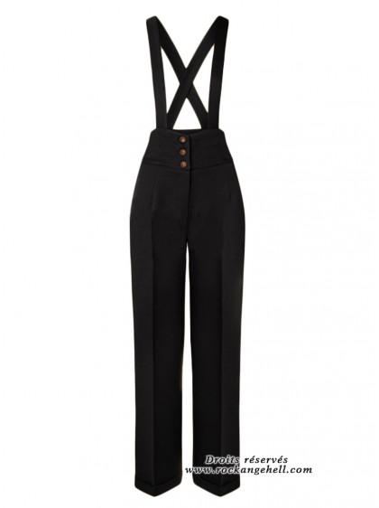 "Pantalon Noir Rockabilly Pin-Up Retro Banned ""Her Favourites Black"" - rockangehell.com"