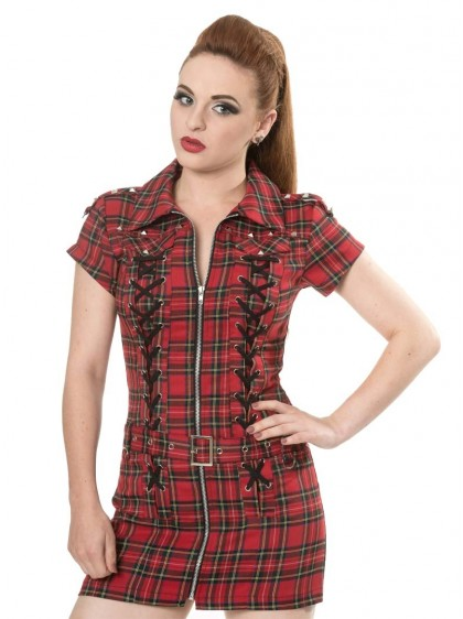 "Robe-tunique Rock Punk Banned ""Mod Red Tartan"" - rockangehell.com"