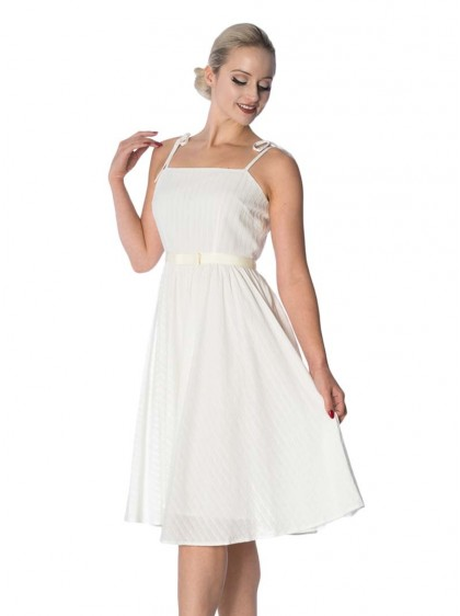 "Robe Blanc Ivoire Retro Rockabilly Vintage Banned ""Make A Wish Ivory"" - rockangehell.com"