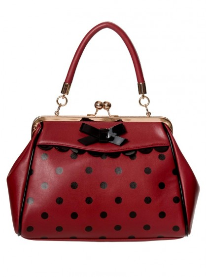 "Sac Rockabilly Années 50 Retro Pin-Up Banned ""Crazy Little Thing Burgundy"" - rockangehell.com"