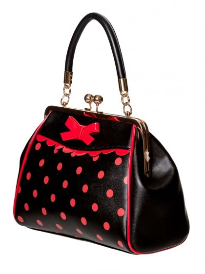 "Sac Rockabilly Années 50 Retro Pin-Up Banned ""Crazy Little Thing Black Red Dots"" - rockangehell.com"