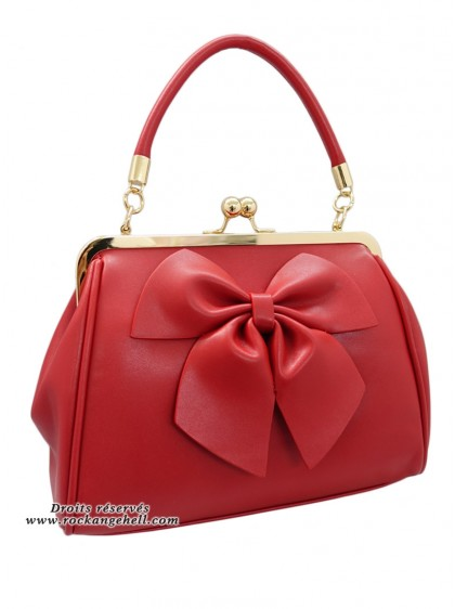 "Sac Rouge Retro Rockabilly Pin-Up Banned ""Lockwood Bow Red"" - rockangehell.com"