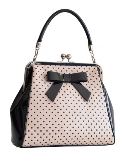 "Sac Retro Pin-Up Rockabilly Banned ""Black Blush Polka Starr"" - rockangehell.com"