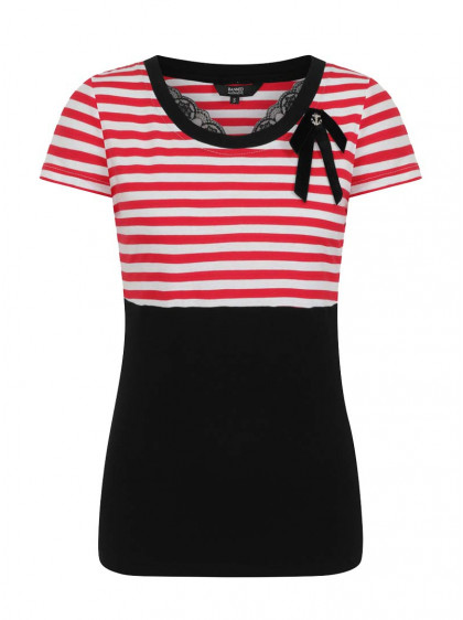 "Top Marin Sailor Retro Rockabilly Banned ""Candy Stripe"" - rockangehell.com"