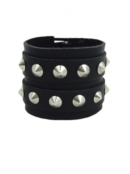 "Bracelet Cuir rock punk ""Conical"" - rockangehell.com"