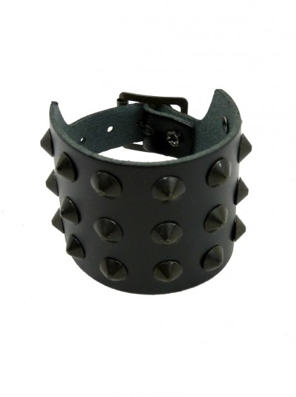 "Bracelet de force Cuir rock punk ""Black Conical"""