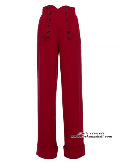 "Pantalon Rockabilly Retro Pin-Up Chicstar ""Emily Red"" - rockangehell.com"