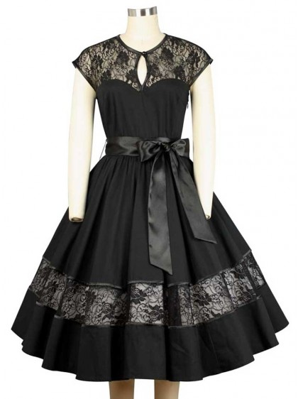 "Robe Rockabilly Gothique Chicstar ""Black Net""- rockangehell.com"