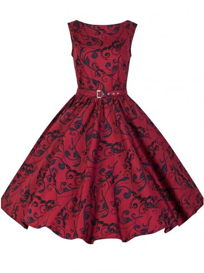 "Robe Rockabilly Retro Vintage Chicstar ""Audrey Red Brocart"" - rockangehell.com"