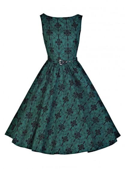 "Robe Années 50 Rockabilly Vintage Chicstar ""Audrey Green Brocart"" - rockangehell.com"