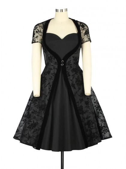 "Robe Rockabilly Gothique Chicstar ""Lena Black"" - rockangehell.com"